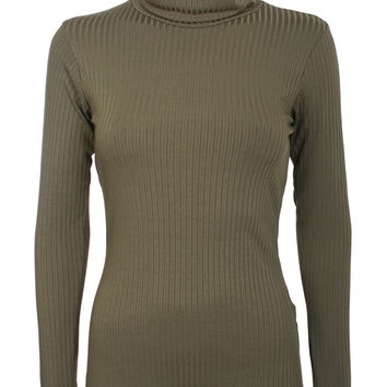 Madeline Long Sleeve Ribbed Roll Neck Top in Khaki Green