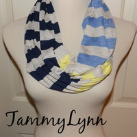 Oatmeal Navy Blue Yellow and True Blue Stripe Modal Cotton Jersey Knit Infinity Scarf Women's Accessories