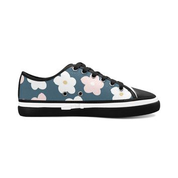 Dark Green Floral Theme Black Women's Nonslip Canvas Shoes