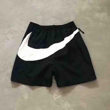 Nike New fashion women and men Behind Big Hook Black/White hook shorts Black