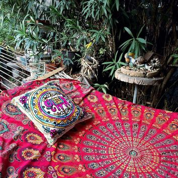 The Jaelyn Peacock Mandala Red Bohemian Wall Boho Large Tapestry