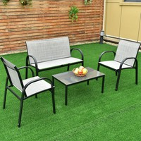 4 PCS Patio Furniture Set Sofa Coffee Table Steel Frame Garden Deck Gray New