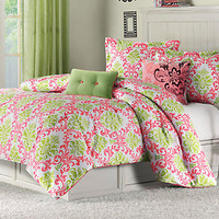 Paige Lime Coral Twin Bed Set