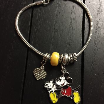 Pandora Inspired 925 Silver Plated Charm Bracelet with Classic Mickey Mouse Enamel Charm