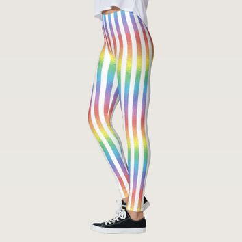 Frosted Rainbow With White Vertical Stripes Leggings
