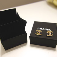 Authentic Chanel Light Gold Large Cc Logo Crystal Stud Earrings From 2014