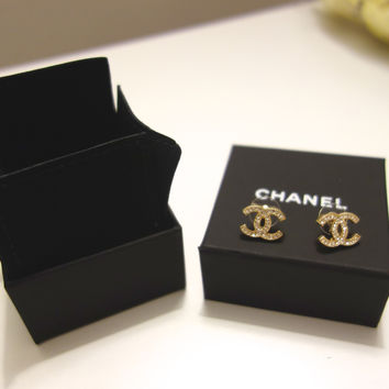 Authentic Chanel Light Gold Large Cc Logo Crystal Stud Earrings From 2017