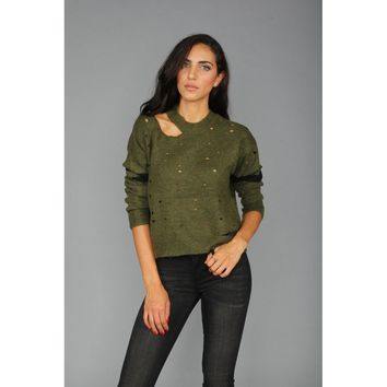 Olive Green Distressed Knit Sweater