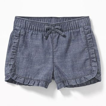 Ruffled Chambray Pull-On Shorts for Baby|old-navy