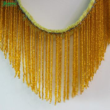 YACKALASI Beaded Fringe Tassel Lace Crystal Beads Strings Latin Dress Dance Wear Macrame Trimming Tassel Gold 5-20CM