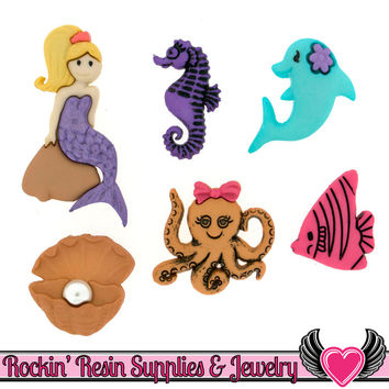 Jesse James Buttons 6 pc Under The Sea Mermaid Buttons