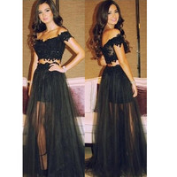 Black 2 in 1 Prom Dress Evening Dresses pst0584