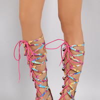 Floral Strappy Cage Lace Up Gladiator Flat Sandal