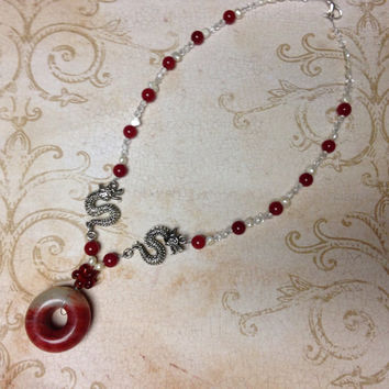Lucky Dragon jade pearl and crystal beaded necklace - red and white - Christmas - jade jewelry - holiday - gifts for her - women's gifts