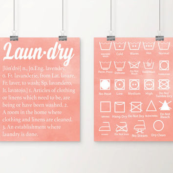 Watercolor Laundry Definition and Symbols Art Print Set - Laundry Room Decor - Laundry Art - Set of 2