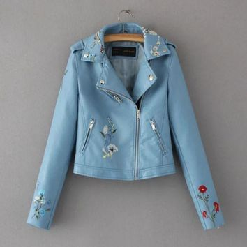 VXL8HQ Fashion Floral embroidery leather lapel jacket lady's jacket (5 color)