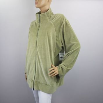 Coral Bay Track Jacket  Plus Size 1X Velour Full Zip Green New Bealls Tag