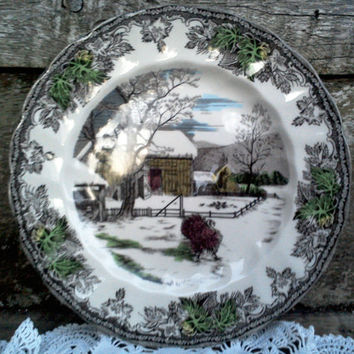 "Turkey Side Plate, 8 5/8"", Johnson Brothers, ""Friendly Village"", Luncheon Plate, Serving, Tableware, Holiday, Home Decor, Kitchen Plate"