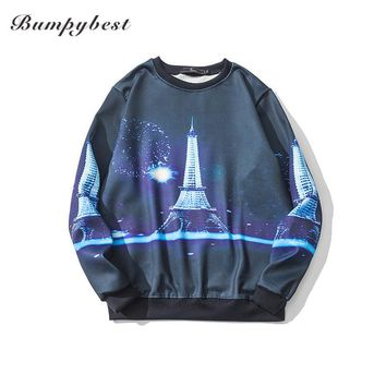3 D Print tower Men Sweatshirts And O-neck Sweatshirt Autumn Winter Unisex Hood Long Sleeves Crew neck Pullover Tops