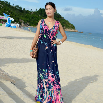 Women Summer Dress 2016 Printed Bohemian Beach Dress Plus Size 5XL Long Maxi Dress Robe Femme Vestidos