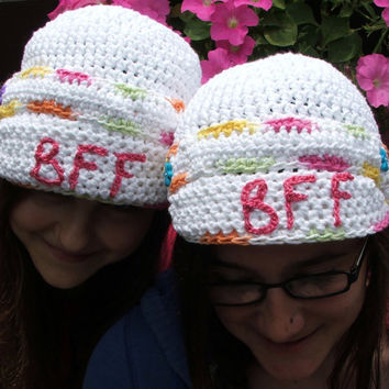 Two Crochet BFF Hats. Brimmed. Best Friends Forever. Made by Bead Gs on ETSY. Best Friends Summer Brim Hat.
