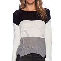 C&C California Colorblocked Stripe Sweater in White