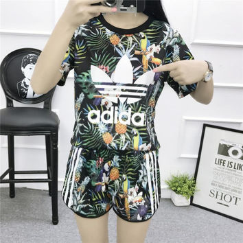"""Adidas"" Women Sports Casual Multicolor Pineapple Toucan Print Short Sleeve Set Two-Piece Sportswear"