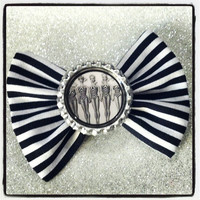 3 Vintage Barbie Black and White Stripe hair bow by SpellboundBows