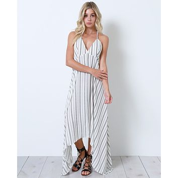 Once Again Stripe Maxi Dress - White