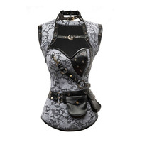 Gray Brocade Steampunk Corset with Jacket