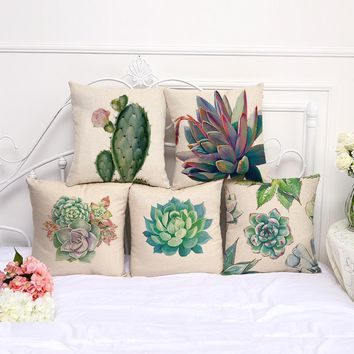 African Tropical Cactus Plants 5 Pieces/set Desert Plant Succulents Stamp Cotton Linen Sofa Throw Cushion Cover Pillowcase Hold