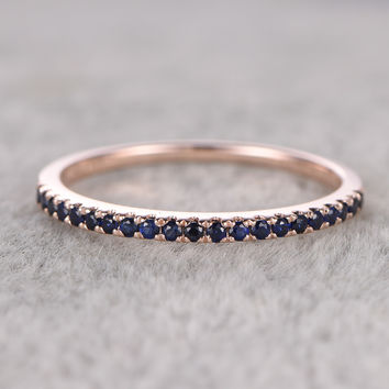 Natural Blue Sapphire Engagement Ring,Solid 14k Rose Gold,Half Eternity Stacking Matching Wedding Bands
