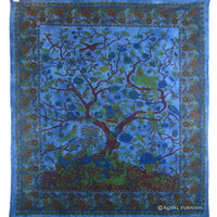 Queen Size Blue Indian Hippie Tree Of Life Cotton Wall Tapestry Bed Cover