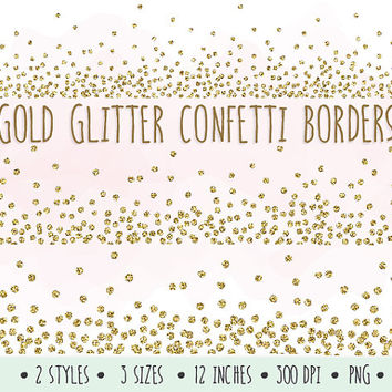 SALE - 30% OFF. Gold Glitter Confetti Borders Clip Art. Glitter Borders and Frames. Mettalic Confetti Clipart for Invitations, Scrapbooking.