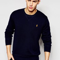 Polo Ralph Lauren Jumper With V Insert In Navy at asos.com