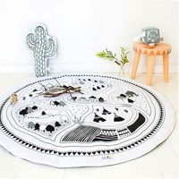 2016 Kids Game Mats Baby Crawling Blanket Round Play Mat Chilren Play Rug Racing Games Carpet Infant Room 100% Cotton