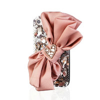 Handmade Hard Case for iPhone 4, 4S, 5 5S & 5C: Bling Pink Silk Bow (custom order are welcome)