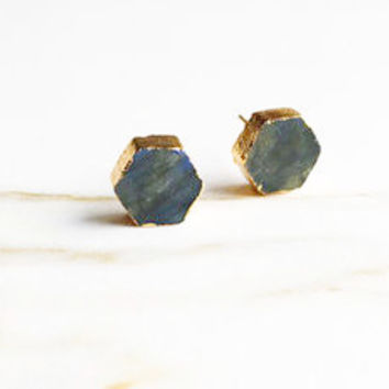 Labradorite Hexagon Stud Earrings