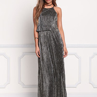 Metallic Pleated Maxi Gown