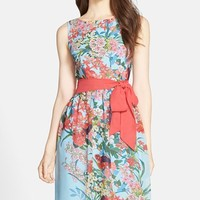 Women's Adrianna Papell Floral Print Chiffon Fit & Flare Dress,