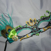 Soft Lace Black Masquerade Mask with Peacock Feathers, Peacock Colored Stones and Teal Accents
