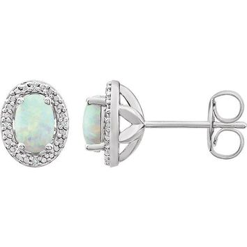 Sterling Silver Oval Created Opal & .025 CTW Diamond Halo-Style Earrings