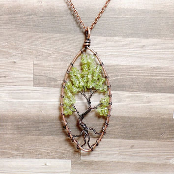 Peridot Tree of Life Necklace - Peridot Necklace - Gemstone Necklace - Peridot Pendant - Copper Necklace - Green Necklace