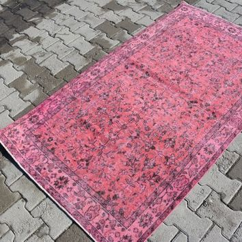 Oushak Rug Turkish Rugs Anatolian Rug Vintage Rug Handmade Rug Area Rug Over dyed Rug Distressed  Shabby Chic Unique 6.4 x 3.5  Feet AG219