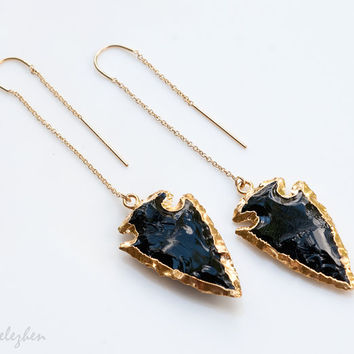 Boho Chic - Black Obsidian Arrowhead Earrings - Gold Ear Thread Earrings - Ear Threader Earrings - Minimal Jewelry - Long Gold Dangle