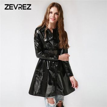 Women's Autumn Winter Long Leather Jackets 2018 Long Sleeve Sexy Black Patent Leather Coat 4XL Female Zevrez ( Gift : Belt )