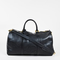 Chanel Vintage Black Caviar Leather 'CC' Oversized Duffle Bag
