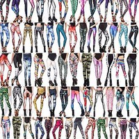 3D Graphic Colourful Printed Women Crazy Leggings Pants Trousers Yoga Sports Hot
