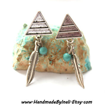 Triangle shape Mountain Native American Style Turquoise and silver Feather dangle Post Earrings Bohemian jewelry Boho chic Southwestern