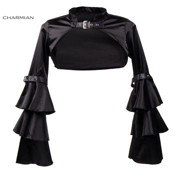Charmian Women's Steampunk Corset Jacket Medieval Victorian Retro Gothic Black Shrug Bolero Long Butterfly Sleeve Clothing